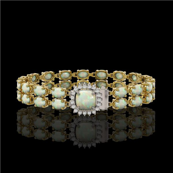 14.41 ctw Opal & Diamond Bracelet 14K Yellow Gold - REF-245R5K