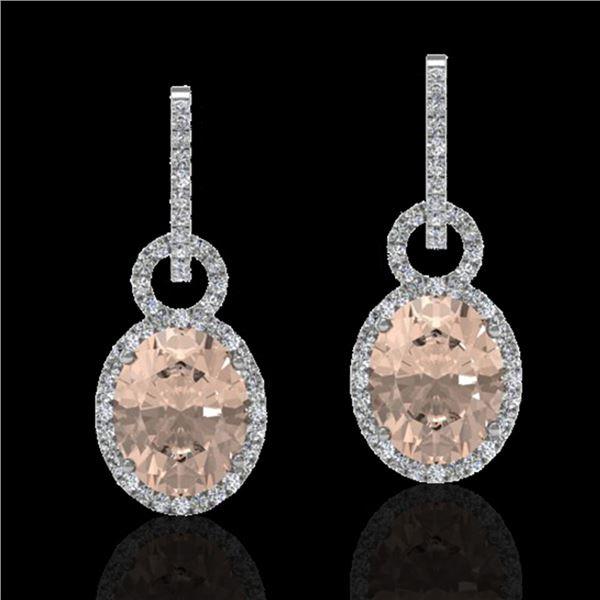 7 ctw Morganite & Micro Pave Halo VS/SI Diamond Earrings 14k White Gold - REF-254H5R