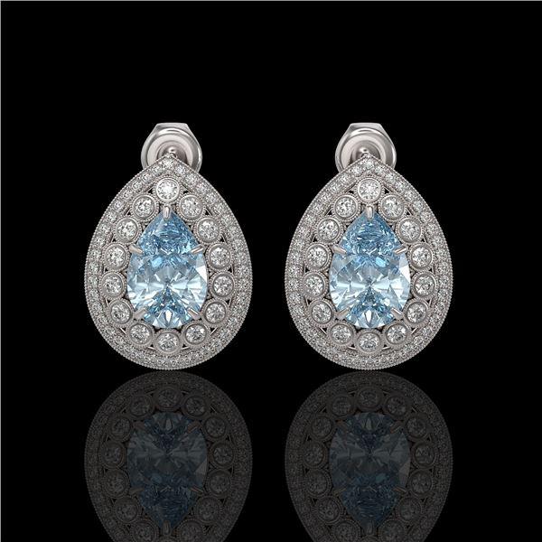 7.15 ctw Aquamarine & Diamond Victorian Earrings 14K White Gold - REF-285W8H