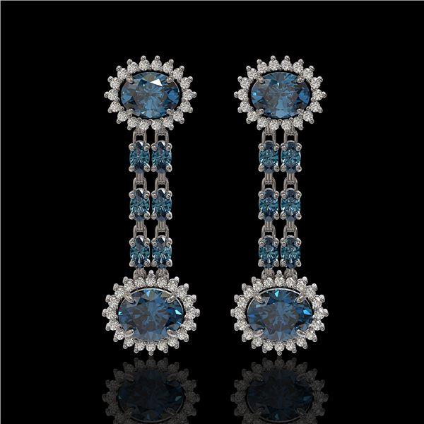 9.85 ctw London Topaz & Diamond Earrings 14K White Gold - REF-148F9M