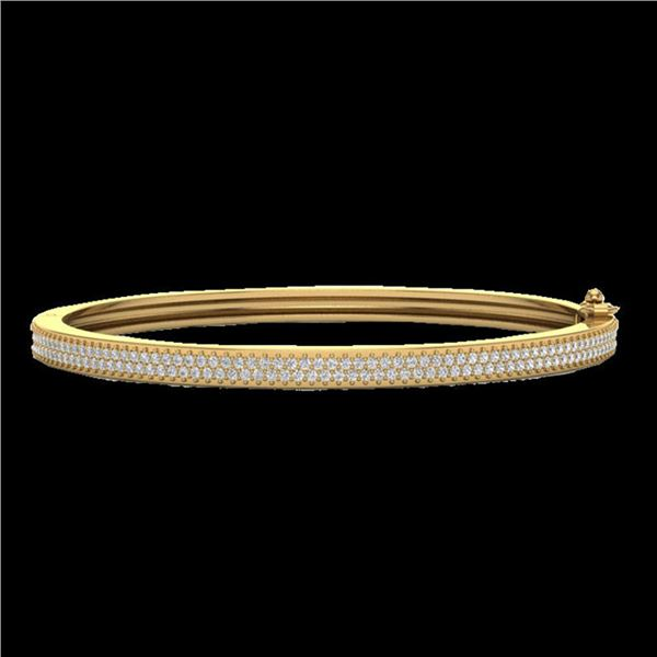 1.50 ctw Micro Pave Diamond Bangel Bracelet 14k Yellow Gold - REF-176W2H