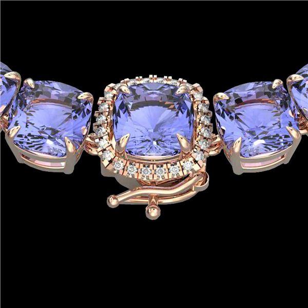 100 ctw Tanzanite & VS/SI Diamond Halo Micro Necklace 14k Rose Gold - REF-1618X2A