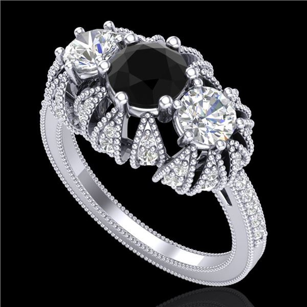 2.26 ctw Fancy Black Diamond Art Deco Micro Pave Ring 18k White Gold - REF-218X2A