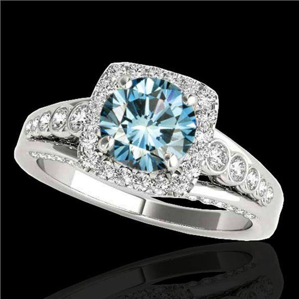 1.75 ctw SI Certified Fancy Blue Diamond Halo Ring 10k White Gold - REF-135F2M
