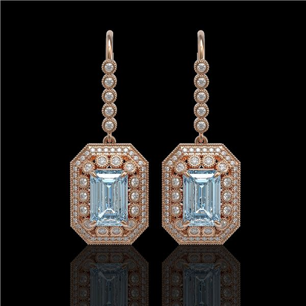 11.32 ctw Aquamarine & Diamond Victorian Earrings 14K Rose Gold - REF-327W3H