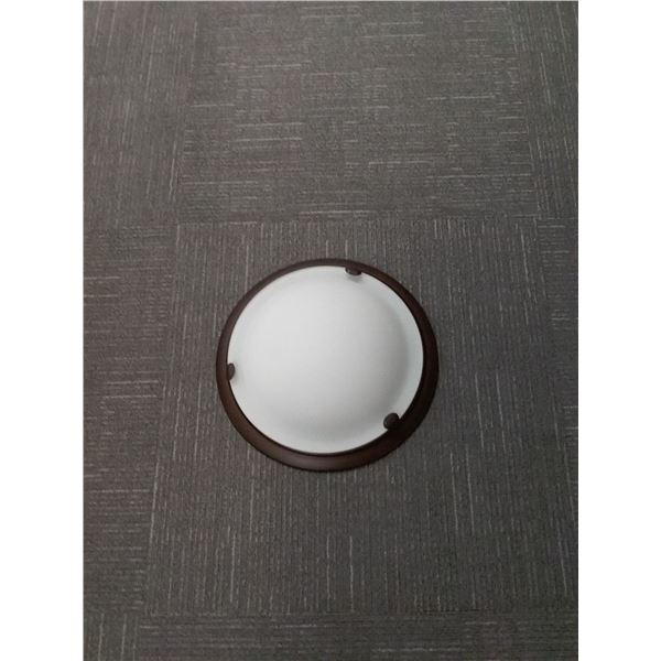 Bronze Flushmount Ceiling Light With White Glass Shade x 2 (Item CL-201-130RB)