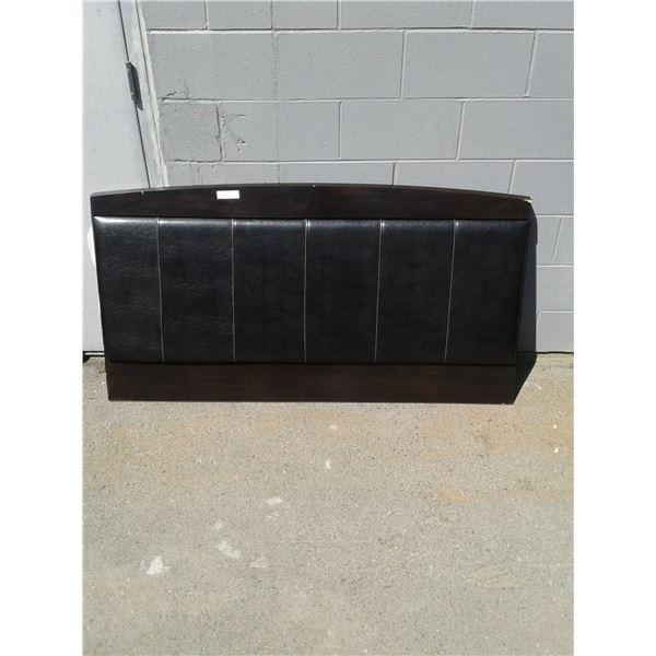 Queen - Wood Appearance Headboard W/Pleather x 1 (Minor Scratches Around The Perimeter)