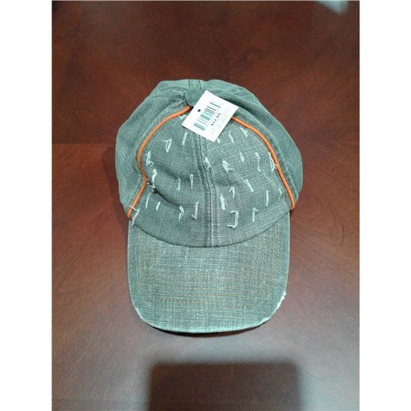 Greenish Grey Children's Hat with Orange Stripe Adjustable Size x 1 Case (66 Hats in a Case)