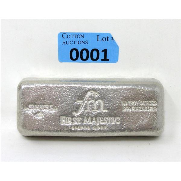 50 Oz. .999 Fine Silver First Majestic Bar