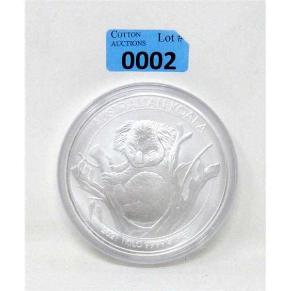 1 Kilo .9999 Fine Silver 2021 Australian Koala Coin