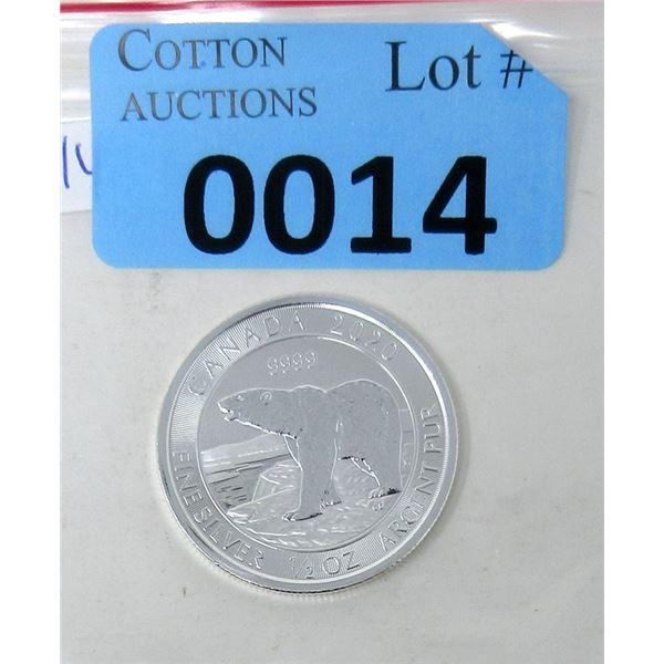 1/2 Oz. Fine Silver 2020 Canada Polar Bear Coin