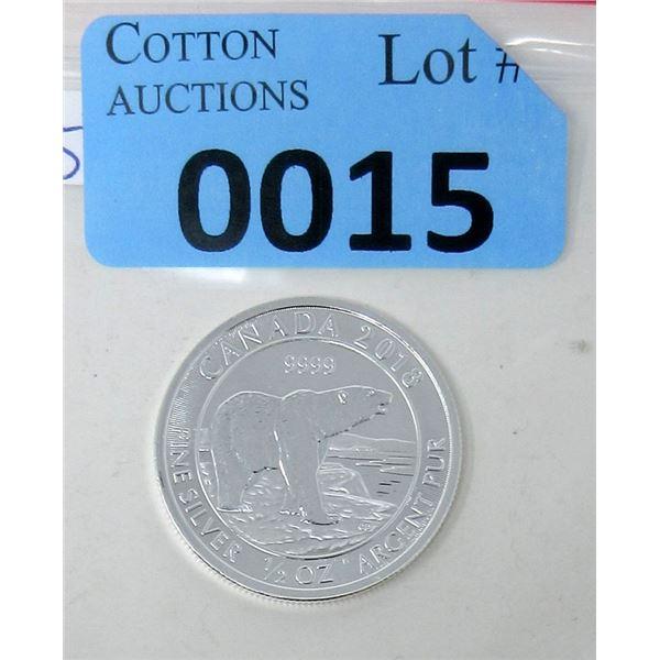 1/2 Oz. Fine Silver 2018 Canada Polar Bear Coin