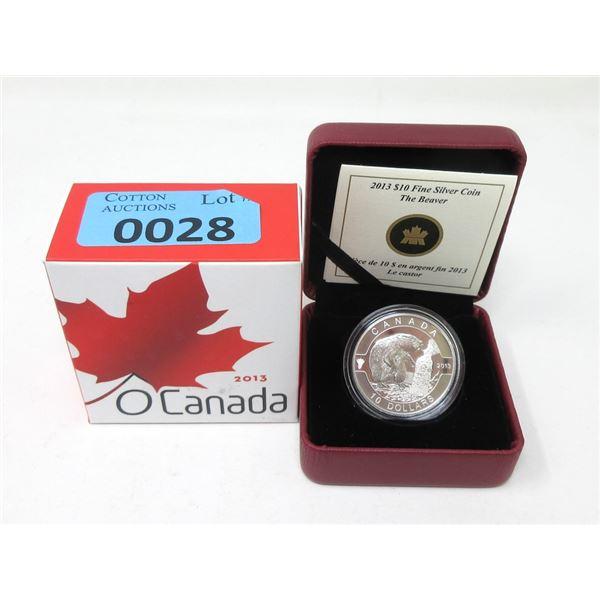 """2013 Canada .9999 Silver """"The Beaver""""$10 Coin"""