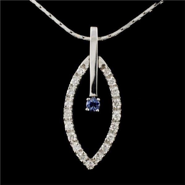 14K Gold 0.17ct Sapphire & 0.50ctw Diamond Pendant