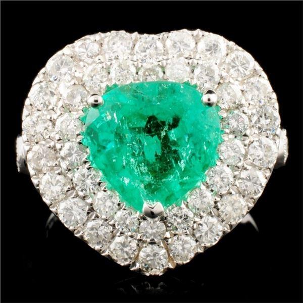 18K Gold 2.23ct Emerald & 1.79ctw Diamond Ring