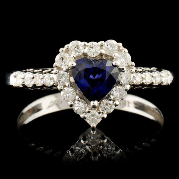18K Gold 0.67ct Sapphire & 0.34ctw Diamond Ring