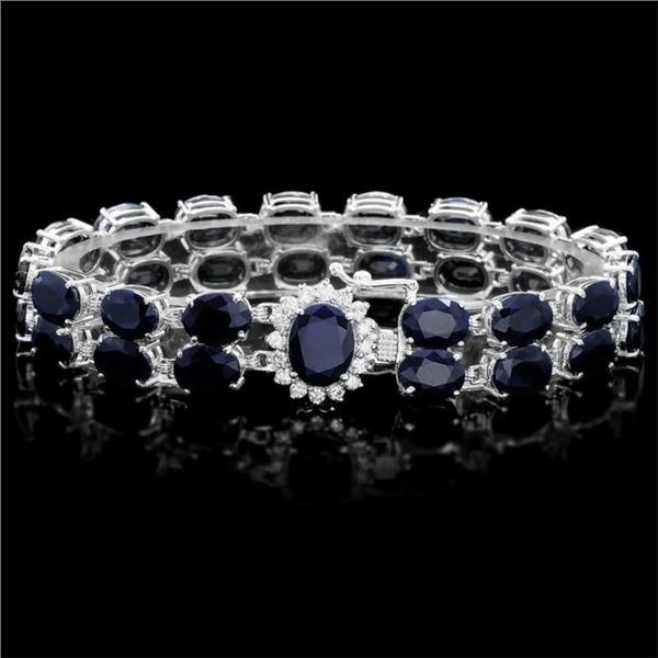 `14k Gold 50.00ct Sapphire & 0.55ct Diamond Bracel