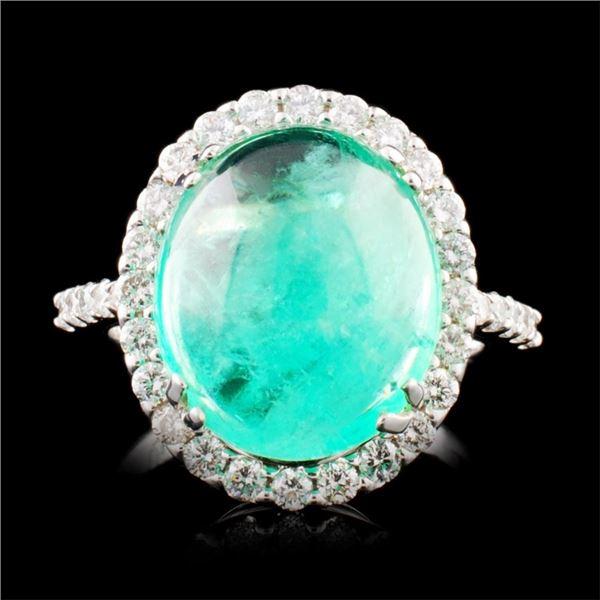 18K Gold 7.35ct Emerald & 0.81ctw Diamond Ring