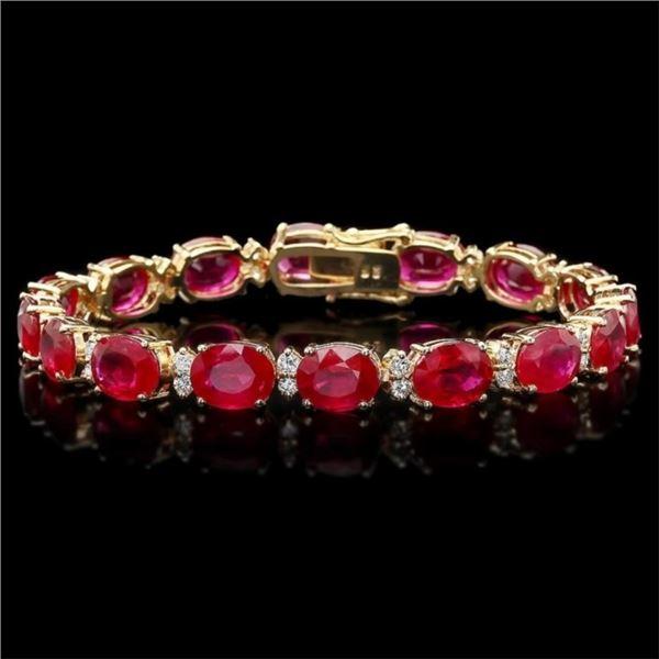 `14k Gold 40.00ct Ruby & 1.50ct Diamond Bracelet