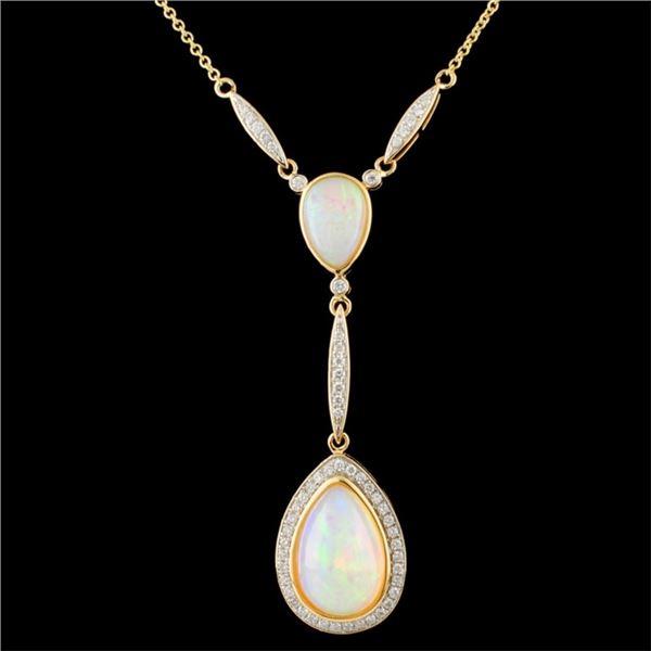 14K Gold 7.55ct Opal & 0.66ctw Diamond Necklace