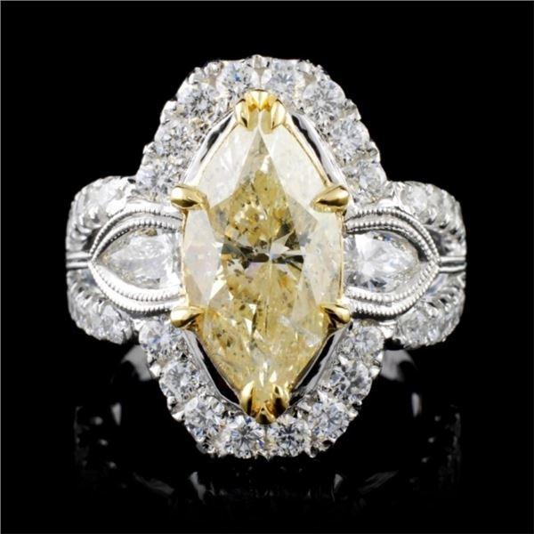 18K White Gold 4.52ctw Fancy Color Diamond Ring