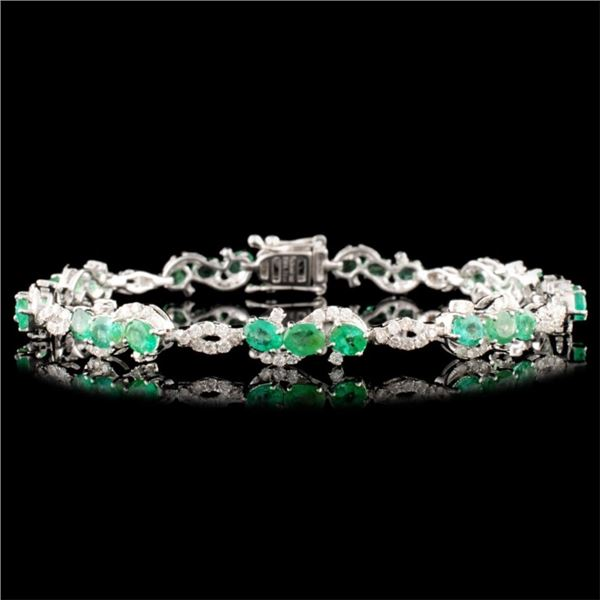 14K Gold 4.21ct Emerald & 1.20ctw Diamond Bracelet