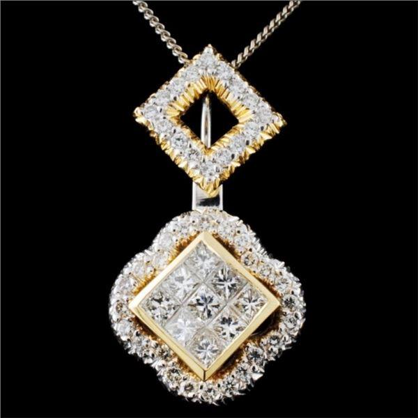 18K Two Tone Gold 1.24ctw Diamond Pendant