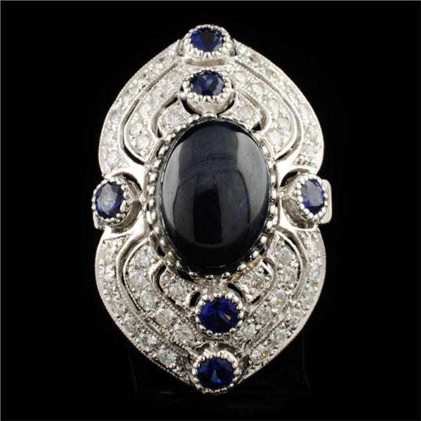 14K Gold 11.24ct Sapphire & 1.45ctw Diamond Ring