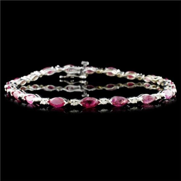 14K Gold 5.26ctw Ruby & 0.30ctw Diamond Bracelet