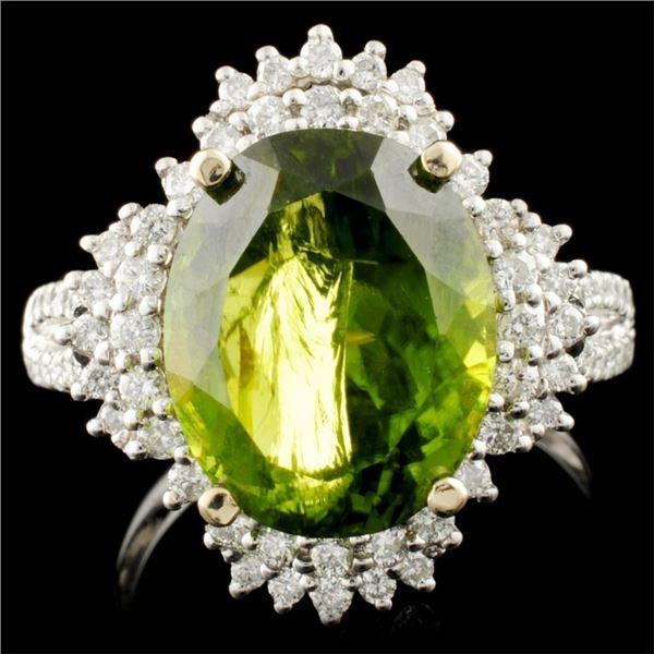 18K Gold 6.52ct Tourmaline & 0.54ctw Diamond Ring