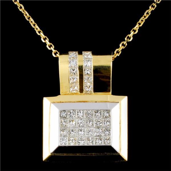 18K Gold 3.08ctw Diamond Pendant