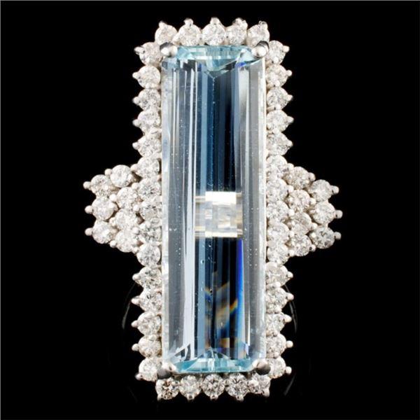 14K Gold 10.30ct Aquamarine & 1.70ct Diamond Ring