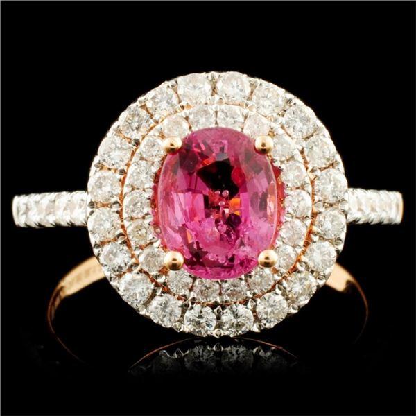 18K Gold 1.28ct Spinel & 0.85ctw Diamond Ring
