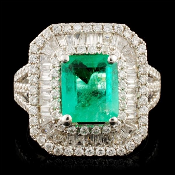 18K Gold 1.36ct Emerald & 1.10ctw Diamond Ring