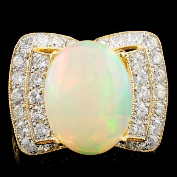 18K Gold 5.47ct Opal & 1.27ctw Diamond Ring