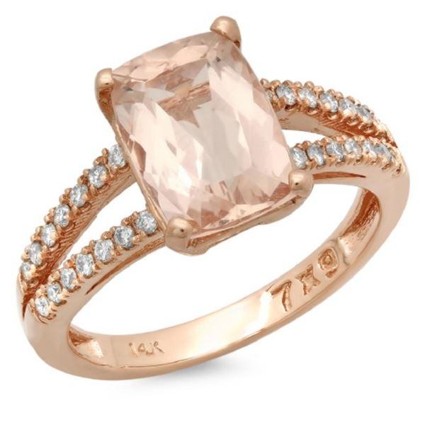 14K Gold 2.50ct Morganite & 0.25ct Diamond Ring