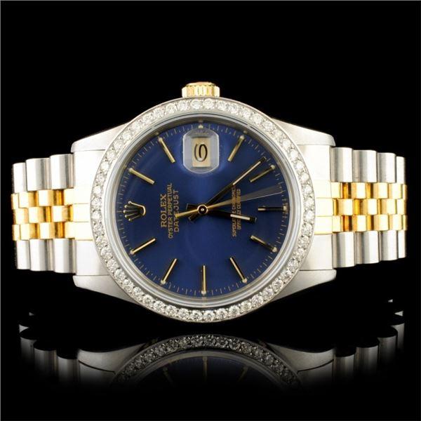 Rolex DateJust 18K YG/SS 1.35ct Diamond 36MM Watch