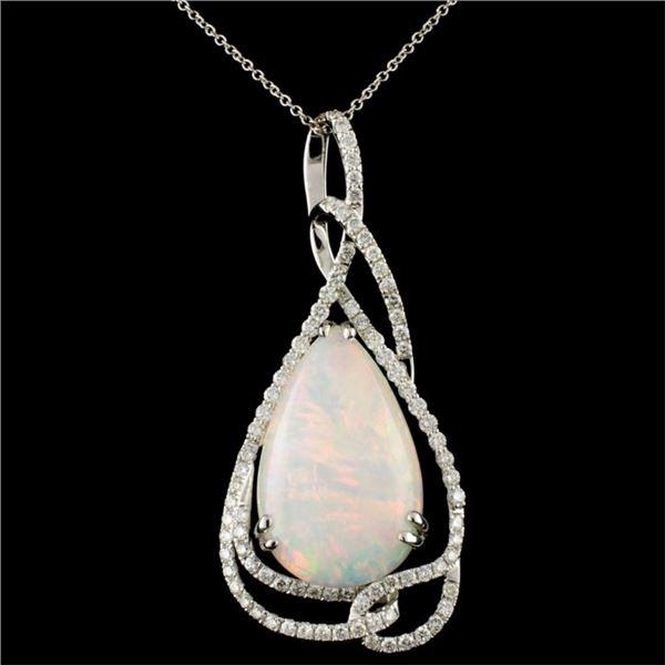 14K Gold 12.27ct Opal & 1.20ctw Diamond Pendant