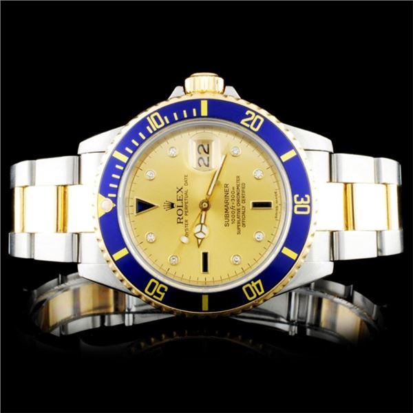 """Rolex SS/YG 40MM Submariner """"Serti"""" Wristwatch"""