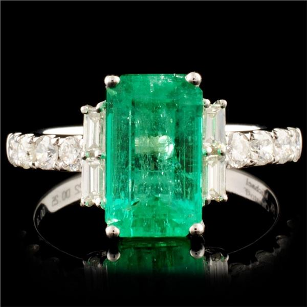 18K Gold 2.22ct Emerald & 0.61ctw Diamond Ring