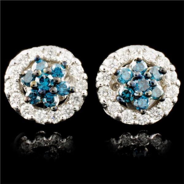 14K Gold 0.76ctw Fancy Color Diamond Earrings