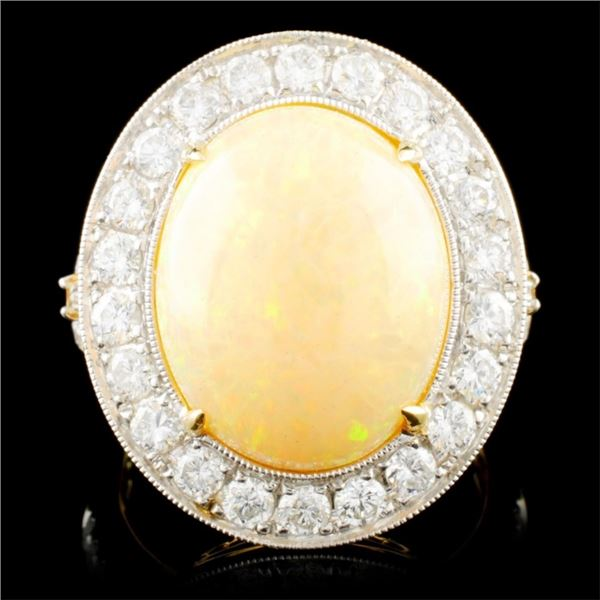 14K Gold 5.51ct Opal & 1.26ctw Diamond Ring