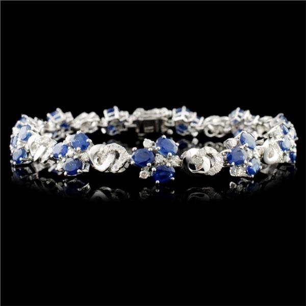 14K Gold 7.72ctw Sapphire & 1.49ctw Diamond Bracel