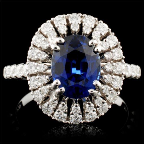 18K Gold 2.19ct Sapphire & 0.86ctw Diamond Ring