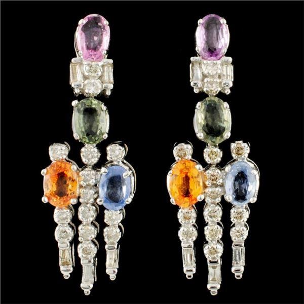 14K Gold 4.03ct Sapphire & 0.95ctw Diamond Earring