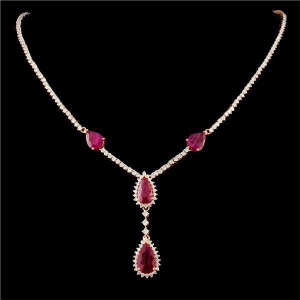 14K Gold 6.93ct Ruby & 3.54ctw Diamond Necklace