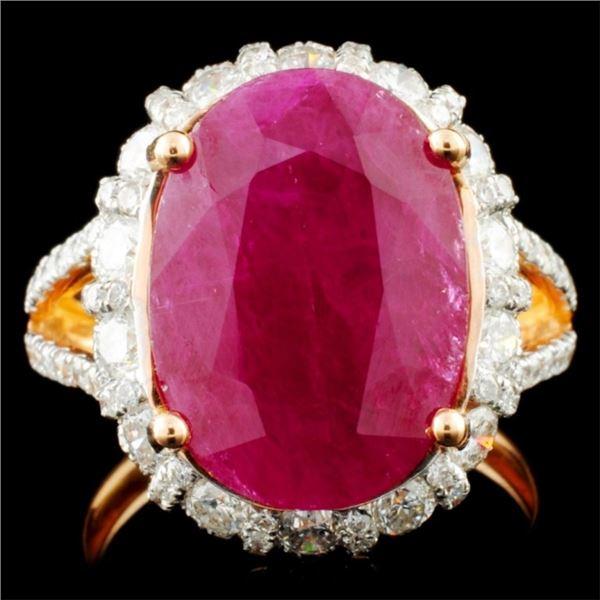 18K Gold 6.71ct Ruby & 1.65ctw Diamond Ring