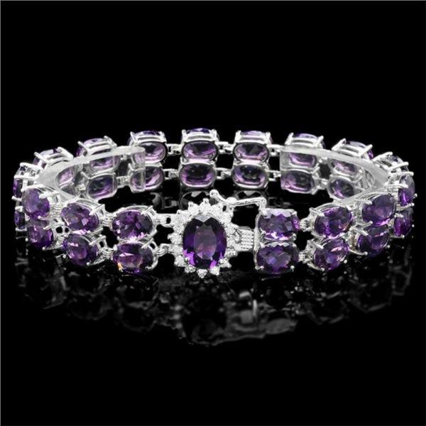 `14k Gold 45.00ct Amethyst & 0.50ct Diamond Bracel