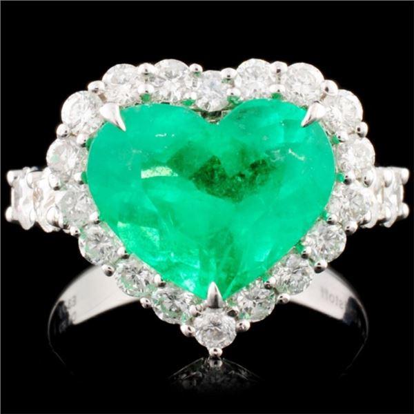 18K Gold 3.71ct Emerald & 1.47ctw Diamond Ring