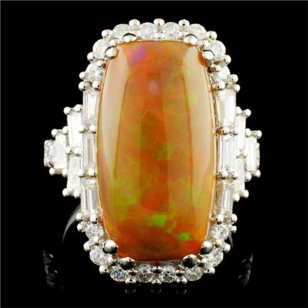 18K Gold 7.16ct Opal & 1.51ctw Diamond Ring